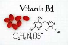 Chemical formula of Vitamin B1 and pills. Chemical formula of Vitamin B1 and red pills Stock Photos