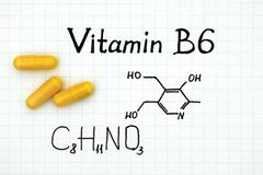 Chemical formula of Vitamin B6 with yellow pills. Close-up royalty free stock image