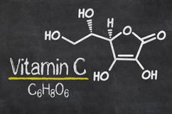 Chemical formula of Vitamin C Royalty Free Stock Photo