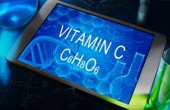 The chemical formula of Vitamin C Stock Photos