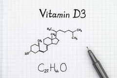 Chemical formula of Vitamin D3 with pen. Stock Image