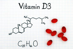 Chemical formula of Vitamin D3 and pills. Chemical formula of Vitamin D3 and red pills stock image