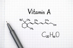 Chemical formula of Vitamin A with pen Stock Photography
