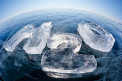 Chemical formula of water H2O. Made from ice on winter frozen lake Baikal Royalty Free Stock Photo