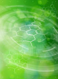 Chemical formulas, radial HUD elements & green bokeh Stock Image