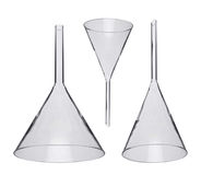 Chemical funnels iolated on white Royalty Free Stock Photo