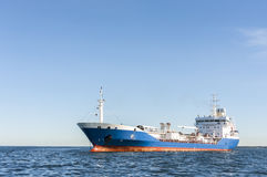 Chemical or gas tanker in sea. Chemical or gas tanker or anchored in sea Stock Photo