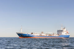 Chemical or gas tanker in sea. Chemical or gas tanker or anchored in sea Royalty Free Stock Photo