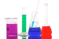 Chemical glass with color liquid Stock Images