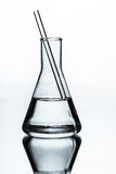 Chemical glass flask closeup Stock Image