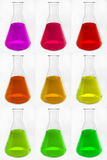 Chemical glass retorts with colorful liquid Royalty Free Stock Image