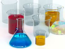 Experiment chemical in Lab. Royalty Free Stock Images