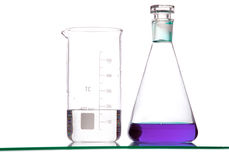Chemical Glass With Solvents Stock Photos