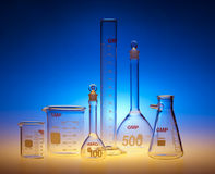Chemical glassware. Test-tubes glassware used in chemistry and biology laboratories Royalty Free Stock Photography