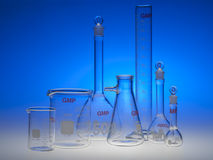 Chemical glassware. Test-tubes glassware used in chemistry and biology laboratories Royalty Free Stock Image