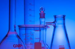 Chemical glassware. Test-tubes glassware used in chemistry and biology laboratories Stock Photography
