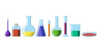 Chemical glassware with bright colorful solutions set isolated on white background. vector illustration