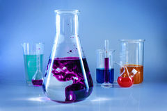 Chemical glassware. Chem laboratory, reactive royalty free stock image