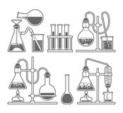 Chemical glassware icon. Set chemical flask. Erlenmeyer flask, distilling flask, volumetric flask, test tube. Vector illustration Stock Photo