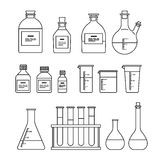 Chemical glassware icons set. Royalty Free Stock Photo