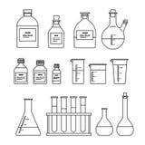 Chemical glassware icons set. Royalty Free Stock Photo