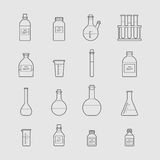Chemical glassware icons set. Royalty Free Stock Photography