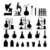 Chemical glassware icons set. Stock Photos