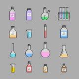Chemical glassware icons set. Stock Photo
