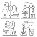 Chemical glassware icons set. Stock Images