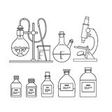 Chemical glassware icons set. Royalty Free Stock Images
