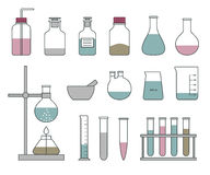 Chemical glassware icons set on a white background. Royalty Free Stock Images