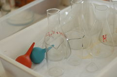 Chemical glassware in the laboratory Stock Images