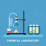 Chemical glassware, laboratory. Royalty Free Stock Images