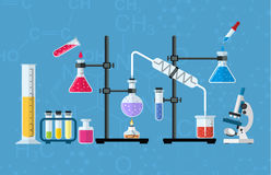 Chemical glassware, laboratory. Chemistry laboratory workspace and science equipment concept. The chemical background, banner, cover. Science, education Stock Photo