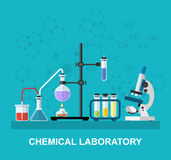 Chemical glassware, laboratory. Stock Image