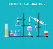 Chemical glassware, laboratory. Royalty Free Stock Photo