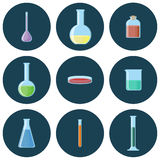 Chemical glassware set of icons. Chemical glassware flasks,beakers,tubes,bottles, petri dish set of icons. Vector illustration in flat style with long shadows Stock Photography