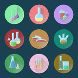 Chemical glassware set of icons. Vector illustration in flat style with long shadows Stock Photo