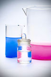 Chemical glassware with  solution Royalty Free Stock Photos