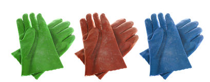 Chemical gloves three colors. Red,green and blue chemical gloves or protection gloves for cleaning or lab research work royalty free stock photo
