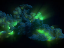 Chemical green explosion with dark smoke 3d rendering. Large chemical green explosion with dark smoke. 3d rendering Stock Photography