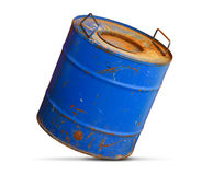 Chemical hazard concept. Dirty barrel. On white background stock image