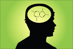 Chemical icon in man's head. Royalty Free Stock Photos