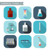 Chemical icons. Flat design with shadows. Chemical Laboratory, chemical glassware.  Stock Image