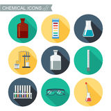 Chemical icons. Flat design with shadows. Chemical Laboratory.  Royalty Free Stock Photos