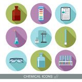 Chemical icons. Flat design with shadows.  Royalty Free Stock Photo