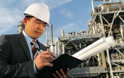 Chemical industrial engineer. Engineer oil industry write on noteboard Stock Image