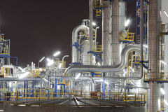 Chemical industrial plant in night time. Night scene of Lighting reflection in Chemical industrial plant Stock Photography