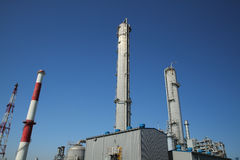 Chemical industrial site. Petrochemicals with clean and clear sky background Stock Photos