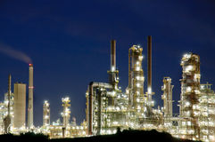 Chemical industry. Illuminated chemical industry at night Stock Photos